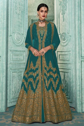 Embroidered Faux Georgette Aqua Anarkali Suit With Maslin And Dupatta