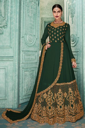 Designer Mehendi Green Embroidered Faux Georgette Anarkali Suit And Dupatta