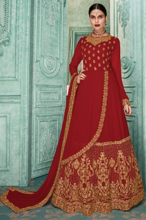 Designer Embroidered Red Faux Georgette Anarkali Suit And Dupatta