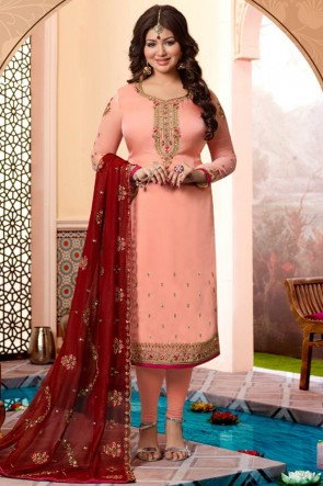 Gorgeous Ayesha Takia Georgette Satin Peach Embroidered Salwar Suit With Georgette Dupatta