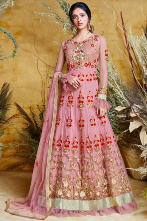Charming Pink Embroidered Net Anarkali Suit And Dupatta