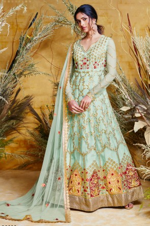 Sky Blue Net Embroidered Anarkali Suit And Dupatta