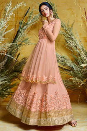 Peach Embroidered Net Anarkali Suit And Dupatta