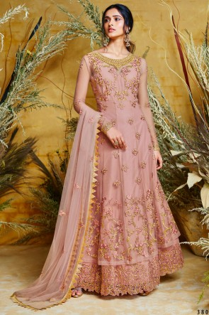 Beautiful Wine Designer Net Embroidered Anarkali Suit And Dupatta