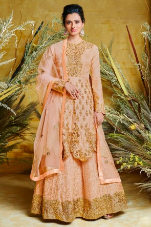 Embroidered Net And Silk Peach Anarkali Suit And Dupatta