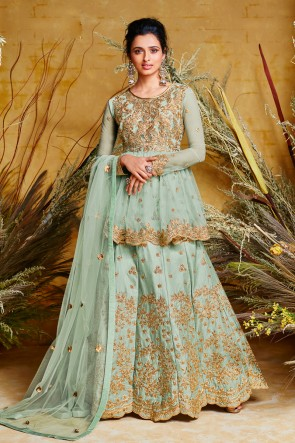 Designer Embroidered Sky Blue Net And Silk Anarkali Suit And Dupatta