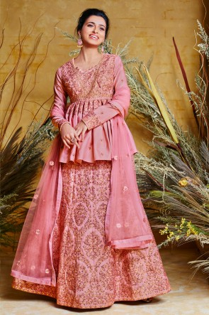 Designer Pink Embroidered Net And Silk Anarkali Suit And Dupatta