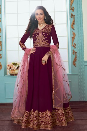 Maroon Georgette Fabric Embroidered Designer Abaya Style Anarkali Suit And Dupatta