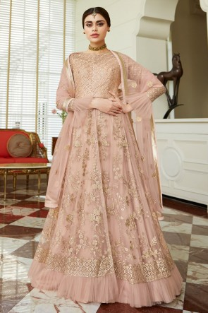 Beautiful Pink Designer Net Embroidered Anarkali Suit And Dupatta