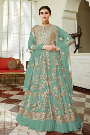 Designer Pista Embroidered Net Anarkali Suit And Dupatta