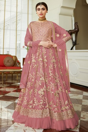 Embroidered Wine Net Anarkali Suit And Dupatta