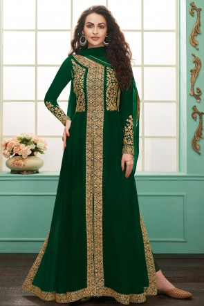 Classy Embroidered Georgette Green Anarkali Suit With Chinon Dupatta