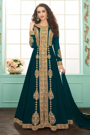 Beautiful Blue Embroidered Designer Georgette Anarkali Suit With Chinon Dupatta