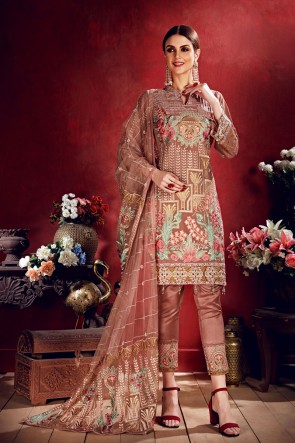 Party Wear Coffee Embroidered Georgette Salwar Suit With Net Dupatta