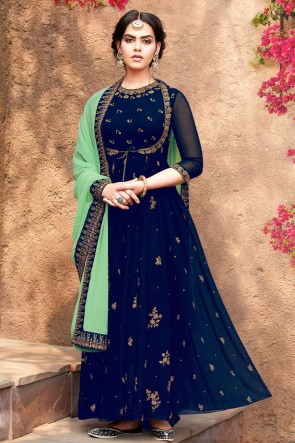 Charming Blue Embroidered Faux Georgette Anarkali Suit With Nazmin Dupatta