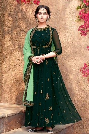 Embroidered Designer Green Faux Georgette Anarkali Suit With Nazmin Dupatta