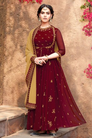 Designer Maroon Embroidered Faux Georgette Anarkali Suit With Nazmin Dupatta