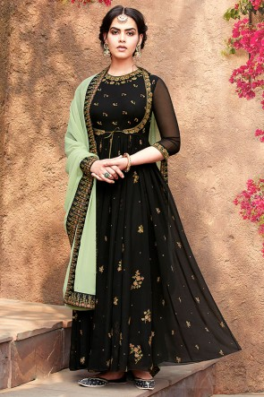 Beautiful Black Embroidered Designer Faux Georgette Anarkali Suit With Nazmin Dupatta