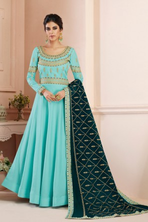 Embroidered Designer Sky Blue Silk Anarkali Suit With Georgette Dupatta