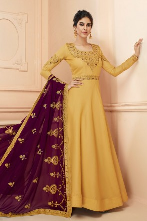 Embroidered Satin Mustard Anarkali Suit With Georgette Dupatta