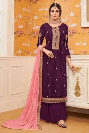 Stunning Wine Embroidered Viscose Plazzo Suit With Georgette Dupatta