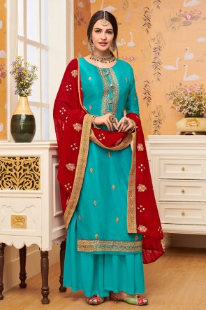 Embroidered Sky Blue Viscose Fabric Stylish Plazzo Suit With Georgette Dupatta