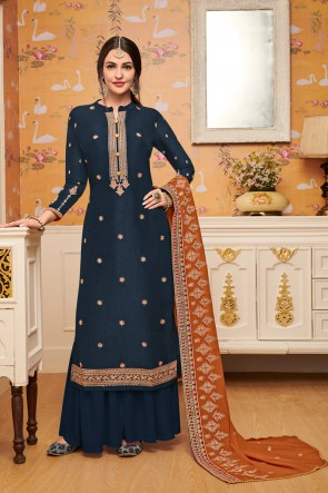 Viscose Fabric Charcoal Embroidered Plazzo Suit With Georgette Dupatta