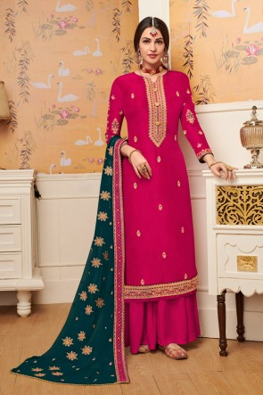 Viscose Fabric Pink Embroidery Work Plazzo Suit With Georgette Dupatta