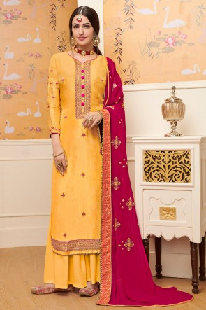 Party Wear Embroidery Work Yellow Viscose Stylish Plazzo Suit With Georgette Dupatta