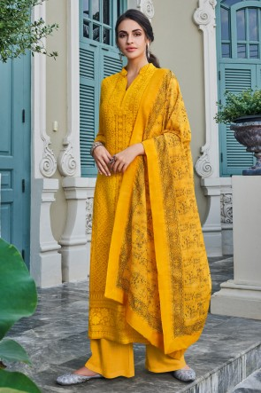 Faux Georgette Yellow Embroidery Work Designer Plazzo Suit With Maslin Dupatta
