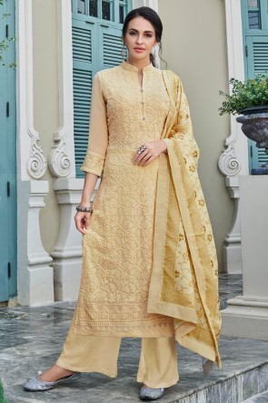 Beige Faux Georgette Fabric Embroidered Plazzo Suit With Maslin Dupatta