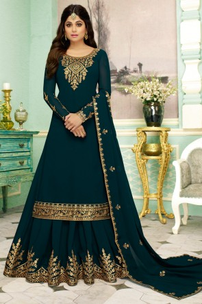 Shamita Shetty Designer Embroidered Georgette Fabric Teal Anarkali Suit And Santoon Bottom