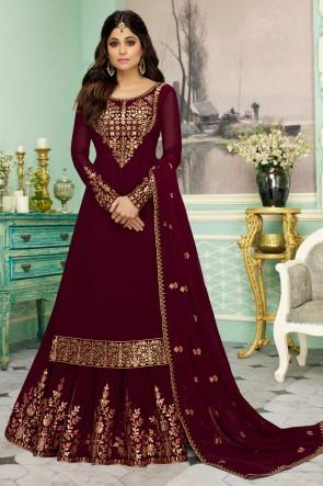 Shamita Shetty Maroon Georgette Fabric Embroidered Anarkali Suit And Dupatta