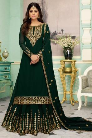 Shamita Shetty Georgette Fabric Green Embroidery Work Anarkali Suit And Santoon Bottom
