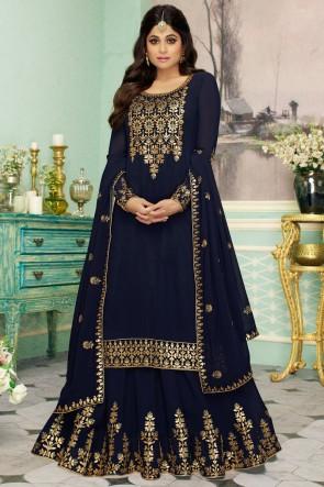 Shamita Shetty Navy Blue Georgette Fabric Embroidery Work Designer Anarkali Suit And Dupatta