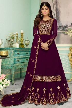 Shamita Shetty Embroidered Designer Purple Georgette Fabric Anarkali Suit And Dupatta