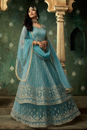 Designer Sky Blue Embroidered Net Abaya Style Lehenga Suit