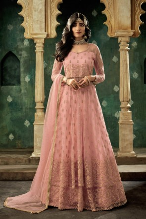 Peach Net Embroidered Abaya Style Lehenga Suit And Dupatta