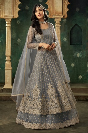 Embroidered Grey Net Fabric Lehenga Suit And Dupatta