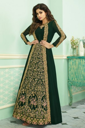 Shamita Shetty Mehendi Green Georgette Embroidered Anarkali Suit With Chinon Dupatta