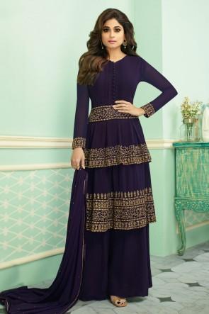 Shamita Shetty Purple Georgette Embroidered Plazzo Suit With Chinon Dupatta