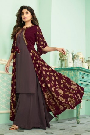Shamita Shetty Embroidered Coffee Georgette Fabric Plazzo Suit With Chinon Dupatta