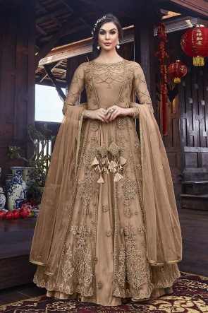 Embroidered Chikoo Net Fabric Anarkali Suit And Dupatta
