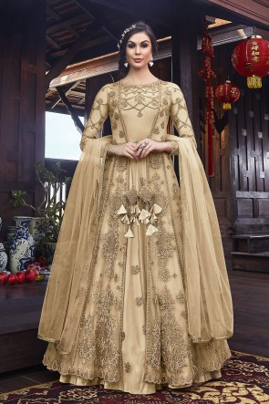 Designer Cream Embroidered Net Abaya Style Anarkali Suit And Dupatta