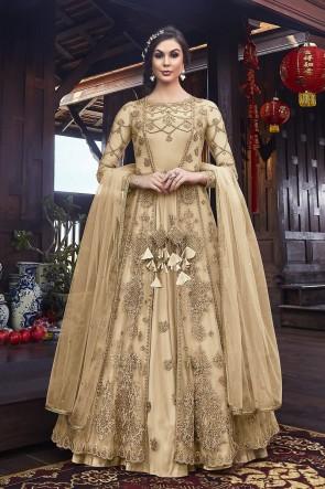 Designer Cream Embroidered Net Abaya Style Anarkali Suit And Dupatta