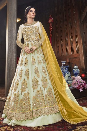 Embroidered Off White Net Fabric Anarkali Suit And Dupatta