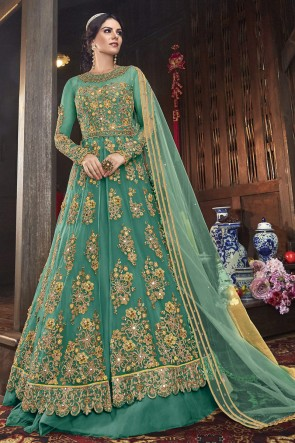 Designer Green Embroidered Net Abaya Style Anarkali Suit And Dupatta