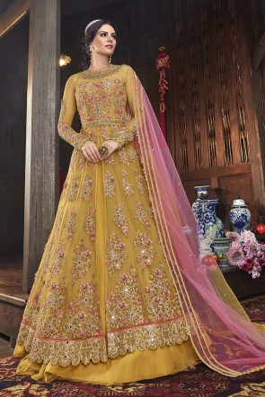 Yellow Net Embroidered Abaya Style Anarkali Suit And Dupatta