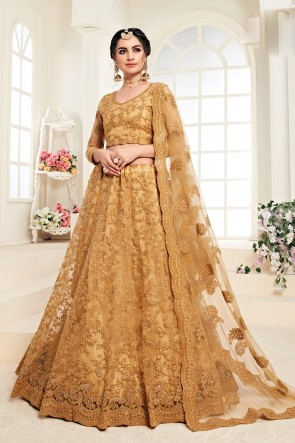 Net Fabric Designer Golden Zari Work And Embroidered Lehenga Choli And Dupatta