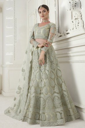 Zari Work And Embroidered Off White Net Designer Lehenga Choli And Dupatta